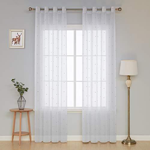 Deconovo tenda camera da letto trasparente ricamata stelline grigio in voile con occhielli per porta finestre 140x260 cm 1 pannello bianco