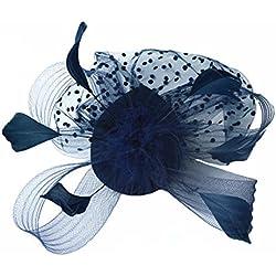 Mujer Lunares Sombrero Tocado Pinza De Pelo Organza Headwear Adecuado La Boda Gala Fiestas CóCtel Banquete,Negro, Rojo, Azul,Red