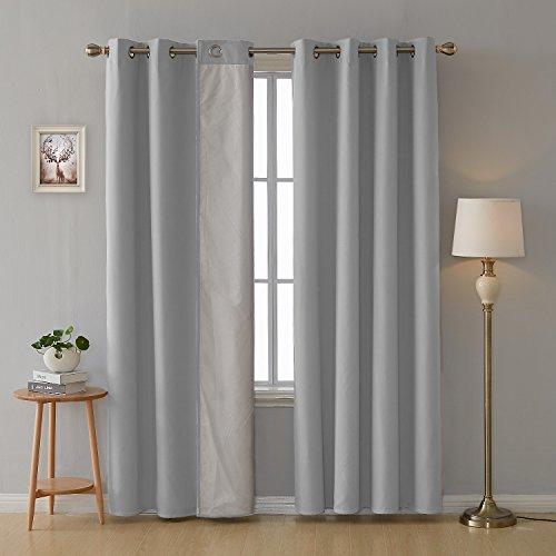 Deconovo 2er Set Vorhang mit Ösen für Wohnzimmer Oxford Thermovorhang Gardinen 240x135 cm Hellgrau - Wohnzimmer-sets Vorhänge Für