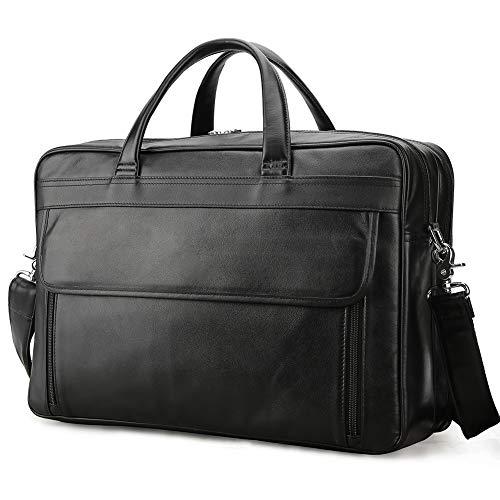 17 Trolley Tote (Vints Herren Retro Rindsleder 17 Zoll Laptop Business Bag Aktentasche Tote Schultertasche Vintage mit Trolley Strap)