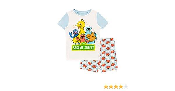 Sesame Street Pigiama a Maniche Corta per Ragazze Vestibilitta Stretta