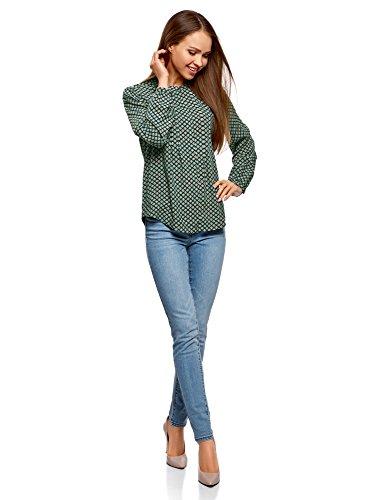 oodji Collection Damen Viskose-Bluse mit Ziernaht auf der Brust Grün (6D12E)