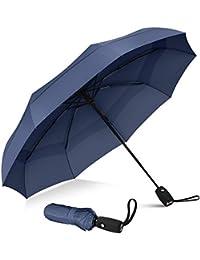 Paraguas de viaje resistente al viento, de secado rápido y apertura y cierre automáticos Azul azul marino