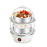 Glive's Double Layer Electric Egg Boiler Cooker Poacher Electric Steamer 14 Eggs Boil Cooker