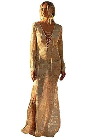AGOGO 2017 Bohemian Mode féminine multi Imprimer ethnique caftan Sheer robe maxi révélateur vêtements de plage (Taille unique, dentelle)