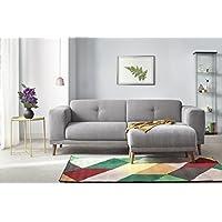 Bobochic LUNA Canapé de 3 places avec Pouf Tissu Gris Clair 225 x 93 x 77 cm