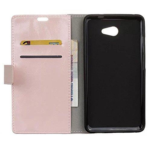 Vodafone Ultra 7 Gehäuseabdeckung, Solid Color Premium Leder Gehäuseständer Wallet Case mit Kartensteckplätzen für Vodafone Ultra 7 ( Color : Black , Size : Vodafone Ultra 7 ) Pink