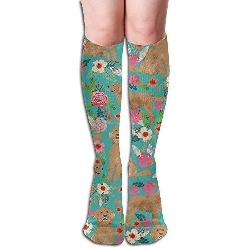 Golden Doodle Floral Dog Unisex Compression Socks For Running,Nurses,Shin Splints,Travel,Flight,Pregnancy & Maternity.