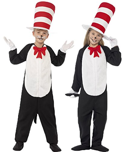 Boys Girls Cat In The Hat Dr. Seuss Fancy Dress Costume Size Large Ages (10-12 years) by Dr. (White Kostüm Cat Ideen)