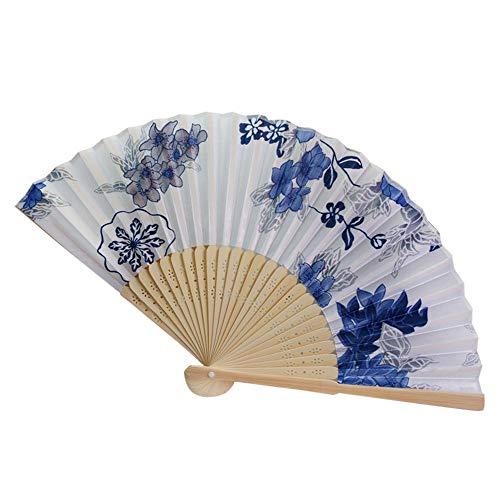 Myfilma ◔◡◔ Frauen Vintage Bambus Falten Hand Blume Fan Chinese Dance Party Geschenke Retro ethnischen Stil Blumendruck Satin Fan