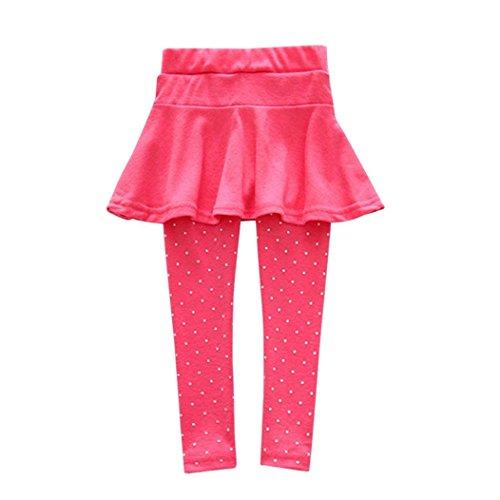 erthome Trendy Wärmer Baby Mädchen Culotte Kind Flecken Hosen Röcke Hosen Legging (Heiß Rosa, 5-6 Jahre)