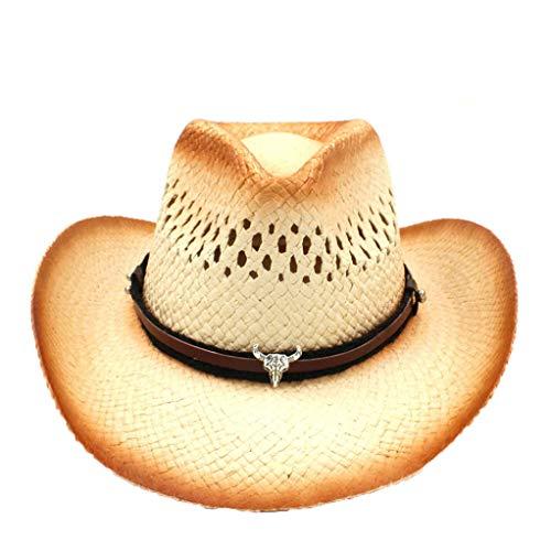 n Cowboyhut Sommer aushöhlen Strand Sonnenhut Outback Hüte mit Punk-Band und Quaste ()