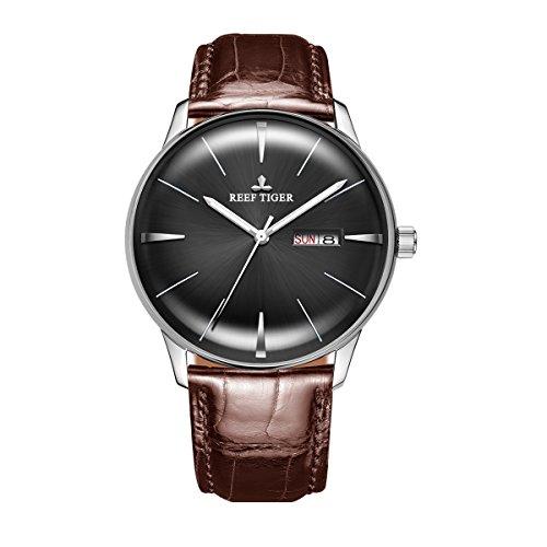 REEF TIGER Herren Uhr analog Automatik mit Leder Armband RGA8238-YBS