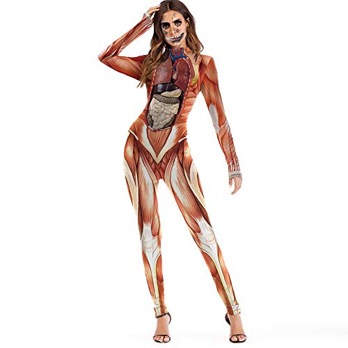 Lenfesh Damen Halloween Unheimlich Gespenstisch Bodycon Party Cosplay Kostüm Overalls (M, Orange 1)