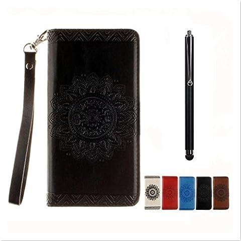 KSHOP Disegno rilievo PU Pelle nero modello fiore indiano mandala goffratura per Samsung Galaxy Note 5 iphone cassa Case Cover caso Funzione di Sostegno Stand con la Copertura del Raccoglitore per la Carte Magnetico + tocco di metallo penna
