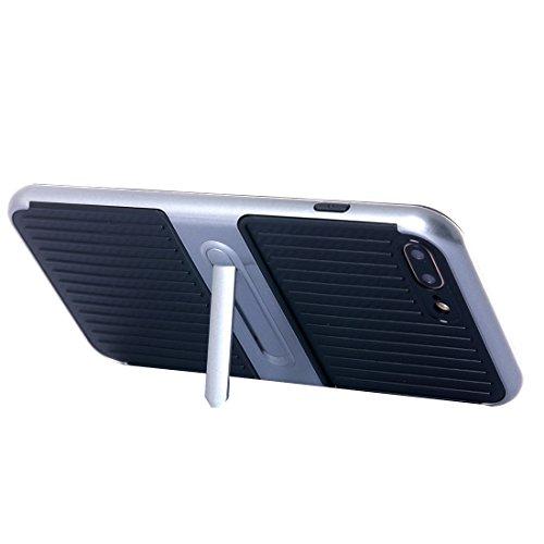 Für iPhone 7 Plus Shockproof TPU + PC schützende Fall-Abdeckung mit seitlichem Wölbungs-Halter by diebelleu ( Color : Black ) Grey