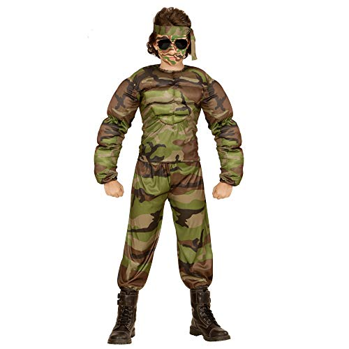 (WIDMANN 00517 - Kinderkostüm muskulöser Soldat, Muskelshirt, Hose und Stirnband, grün)