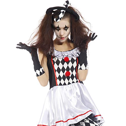 Anladia Damen Halloween Horror Kleid Hofnarr Clown Zombie Harlekin Kostüm Karneval Fasching L