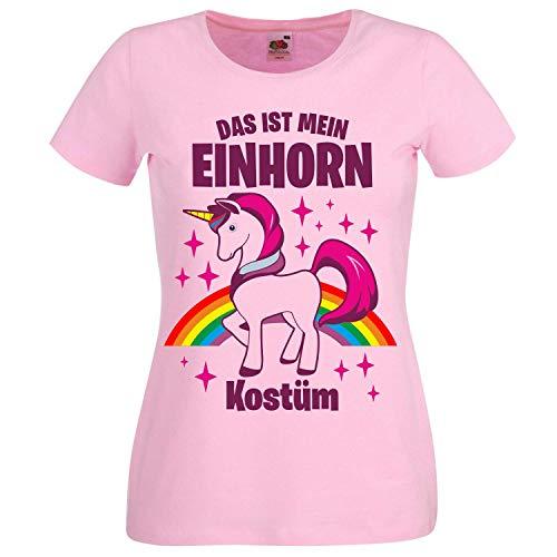 Clowns Kostüm Böse - T-Shirt Damen Das ist Mein Einhorn Kostüm - Einhorn Karneval JGA, Rosa, S