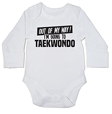 HippoWarehouse Out of My Way I'm Going to Taekwondo baby bodysuit (long sleeve) boys girls