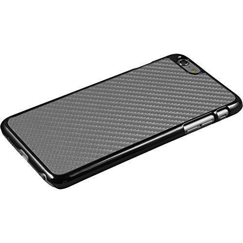 PhoneNatic Case für Apple iPhone 6 Plus / 6s Plus Hülle silber Carbonoptik Hard-case für iPhone 6 Plus / 6s Plus + 2 Schutzfolien Silber
