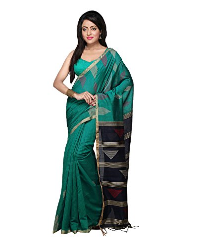 Bengal Handloom Saree Women's Art Silk With Blouse Piece (Hts28_Turquoise)