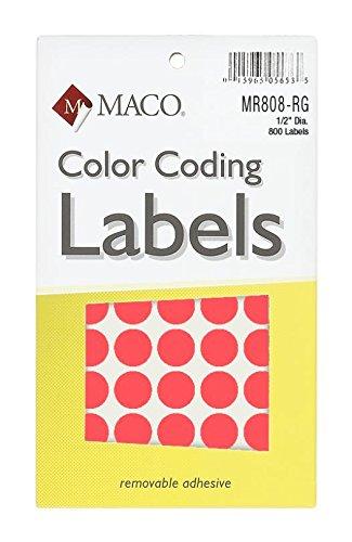 Juego de neón rojo redondo de codificación de Color etiquetas, 1/2pulgadas de diámetro, 800por caja (mr808-rg)