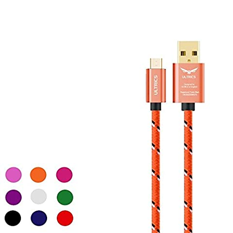 Premium ULTRICS® Hi-Speed Extra Long Nylon Braided Tangle-Free USB 2.0 Micro USB Charging/Sync Cable For Micro USB Male to USB Male Adapter Cable Universal for Samung Galaxy Note S5 S4 S3 S2 Tab 3 Note 10.1 2014 Edition | Google Nexus 5 4 7 10 2013 | HTC One M8 | Moto G | Nokia Lumia | Sony Xperia Phone Tablet (3 Meters,