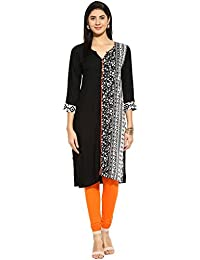 Mytri Women's Black & White Printed Rayon 3/4Th Sleeves Kurta