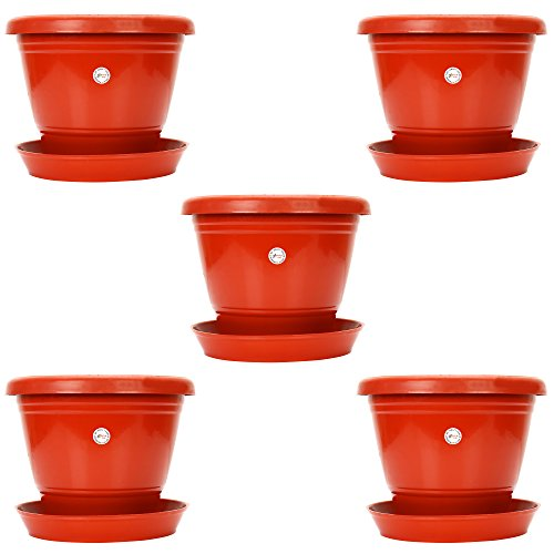 Gamla/Planter/Pot 8-inch (Pack of 5 Pots) (Red/Terracotta Colour Pot) with Bottom Plate/Tray...