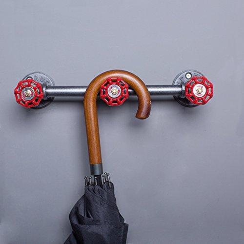 ZHEN GUO Industrieller Eisen-Rohr-Kleiderhaken-Gestell-Wand-angebrachter Kunst-Dekor, starker rustikaler Kleiderbügel-Tuch-Schienen-Kleiderhalter, 3 Wasserventil-Haken für Eingang Badezimmer, Schwarzes, Grau und Rot, 52cm (Metall-schlüssel-wand-dekor Große)