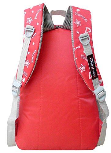 Longzibog Dual verstellbare Schultergurte und Hängeschlaufenband Mode Maedchen Rucksack Schulranzen Rosa
