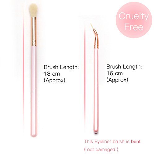 Qivange Eye Brushes Set Makeup Brush Kit with Portable Rose Red Pouch (12pcs Pink with Rose Gold)