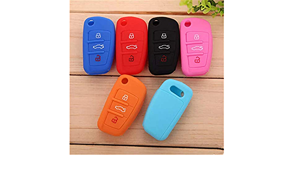 Shanhua Autoschlüssel Cover Silikon Key Shell Key Case Skin Jacke Fit A Udi A1 A3 A4 A5 A6 A7 A8 Q5 Q7 R8 Tt S5 S6 S7 S8 Sq5 Rs5 Tt Himmelblau