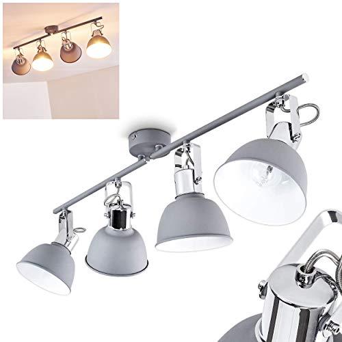 Deckenleuchte Dompierre, Deckenlampe aus Metall in Grau/Weiß, 4-flammig, mit verstellbaren Strahlern, 4 x E14-Fassung max. 25 Watt, Spot im Retro/Vintage Design, für LED Leuchtmittel geeignet