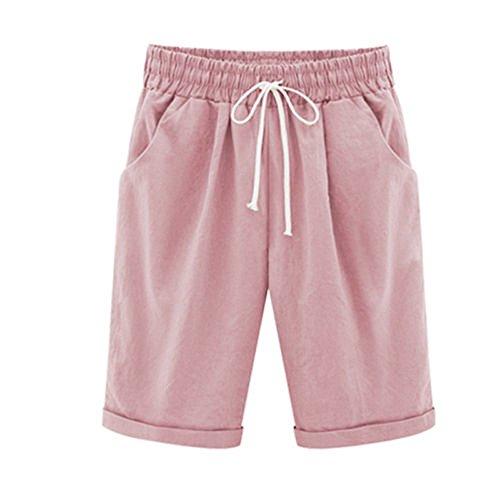 YWLINK 2018 Damen Kleidung,Mode Plus Size Casual Frauen Baumwolle Leinen Einfarbig Shorts Hosen Elastische Taille Sommer DüNne Dame Hosen