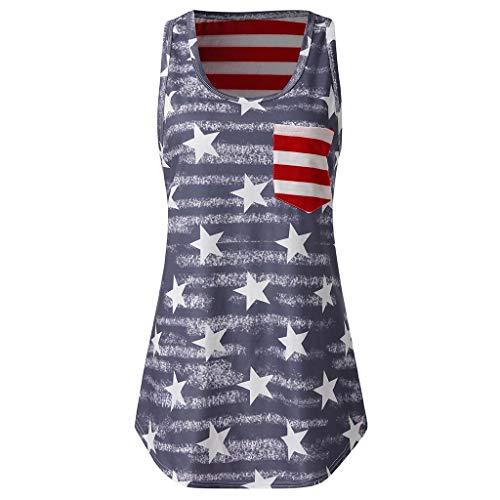 Bellelove Unabhängigkeitstag Tanktops Weiblichen Sommer Lose Ärmellose Runde Kragen Tank Flag American Print Sexy Casual Top Frauen Bluse