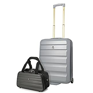 Aerolite Ryanair 55x40x20cm Maleta de equipaje de mano con funda dura Maleta + 35x20x20cm Maleta de talla máxima
