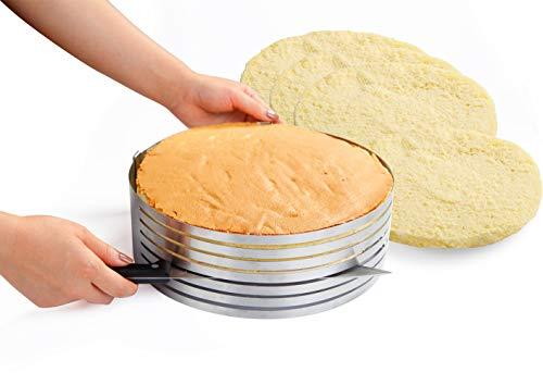Somine Affettatorte 7 Strati per Tagliare Torte Uniformemente - Anello in Acciaio Inox Premium con Diametro Regolabile da 23 cm a 30 cm (da 9'' a 12'') - Grande Stampo per Affettare Torta.