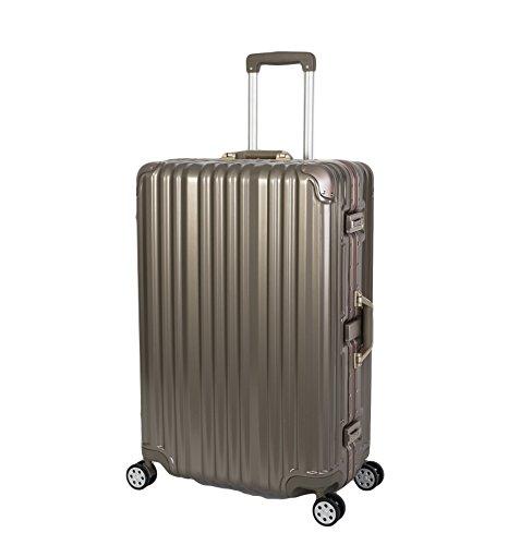 TRAVELHOUSE Travelhouse London Koffer Gold L-75cm · Alu Rahmen · Polykarbonat Hartschale · Trolley Reisekoffer Reisegepäck · 2X TSA Zahlenschloss · 4 Doppelräder · 360°Rollen · Marken-Qualität · Vol. 108L