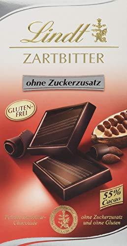 Lindt Zartbitter Schokolade ohne Zuckerzusatz, 55% Cacao Anteil, feinste Lindt Chocolade ohne Zuckerzusatz und ohne Gluten, 4er Pack (4 x 100 g) -