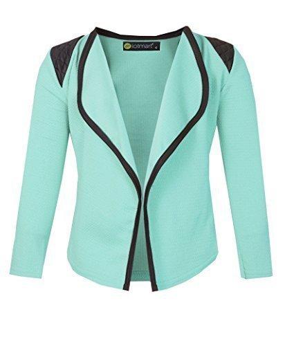 LOTMART-Girls-Long-Sleeve-Quilted-Shoulder-Open-Front-Jacket-Kids-Cardigan-Top-11-12-Years-Aqua