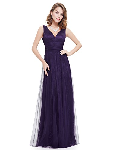 Ever Pretty Robe de cocktail Longue en V-col et le buste en ruche 08532 Violet