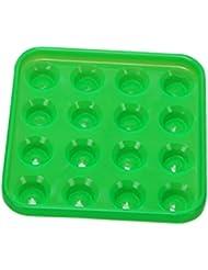 MagiDeal Bandeja Plástica de 16 Bolas de Billar Duradero Bandeja de Pelota de Piscina Accesorio de Tabla de Billar - Verde