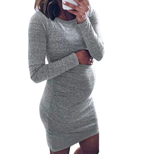 ♬ Mini Robe De Maternité Élastique Mode Femmes Robe Grossesse Robe de Genous O-Cou À Manches Longues Simple et Confortable Pyjamas Enceintes GongzhuMM (M, GRIS)