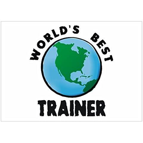 Teeburon WORLD'S BEST Trainer globe Sticker Pacchetto di 4