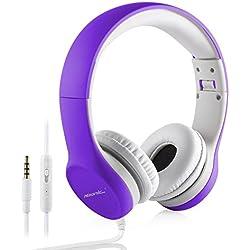 Auriculares plegable de Diadema para Niños, Hisonic auriculares Con Cable Ajustables Con Limitación de Volumen regalo perfecto para los niños.