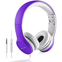 Kopfhörer für Kinder, hisonic Kinder Kopfhörer mit Laustärkebegrenzung Verstellbare Kinder Erwachsene Headset für iPod iPad iPhone Android Handy Tablet PC MP3 MP4 Player(violett)