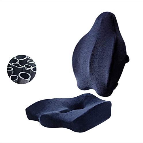 ZMXZMQ Cuscino Sedile/Cuscino Posteriore in Cotone di bambù con Memoria Carbone, Design Ortopedico, Supporto per Lombalgia, Lombare E Sciatica,Blue