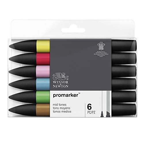 Winsor & Newton Promarker - 6 pennarelli Toni Medi